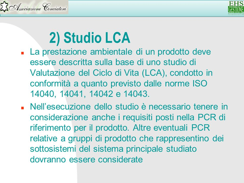 2) Studio LCA