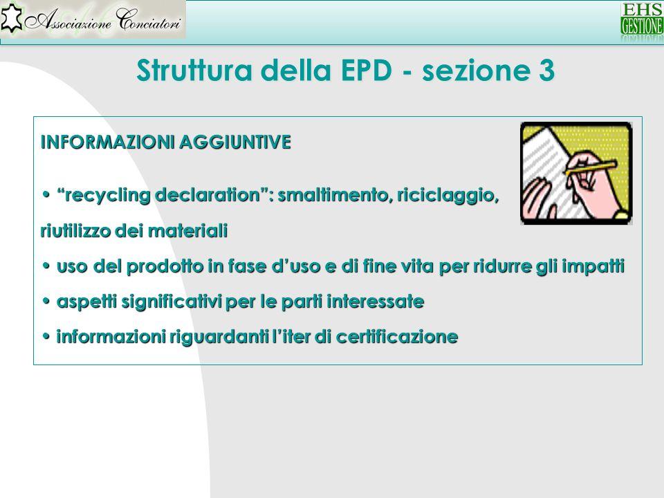 Struttura della EPD - sezione 3