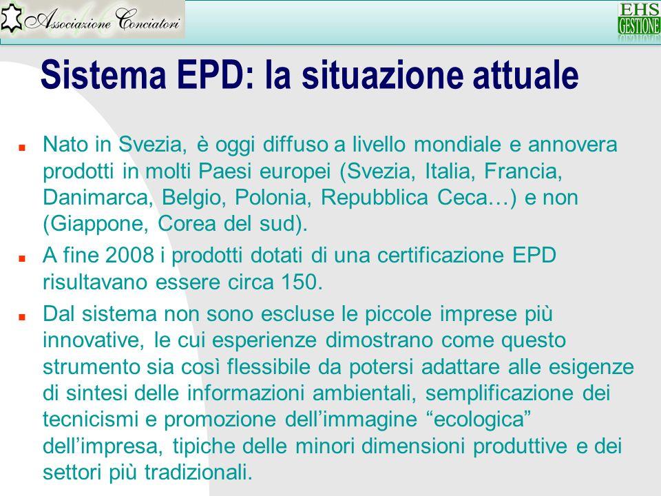 Sistema EPD: la situazione attuale