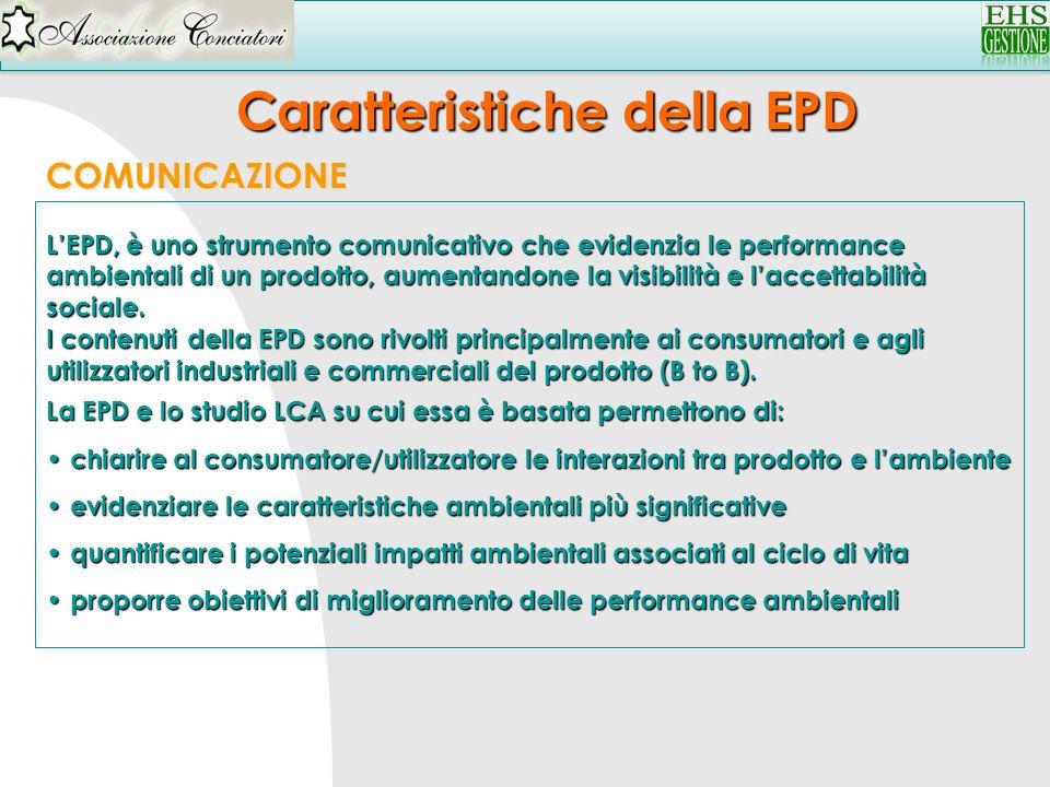 Caratteristiche della EPD