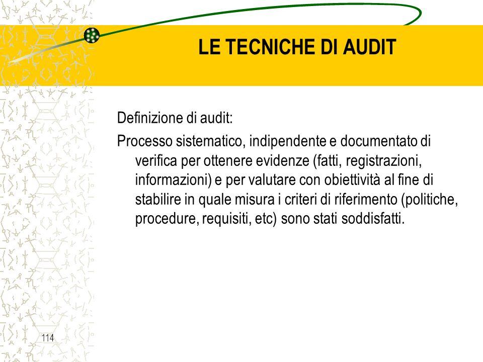 LE TECNICHE DI AUDIT Definizione di audit:
