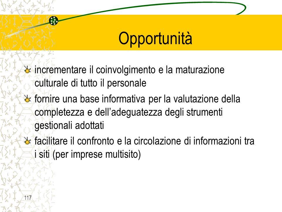 Opportunità incrementare il coinvolgimento e la maturazione culturale di tutto il personale.