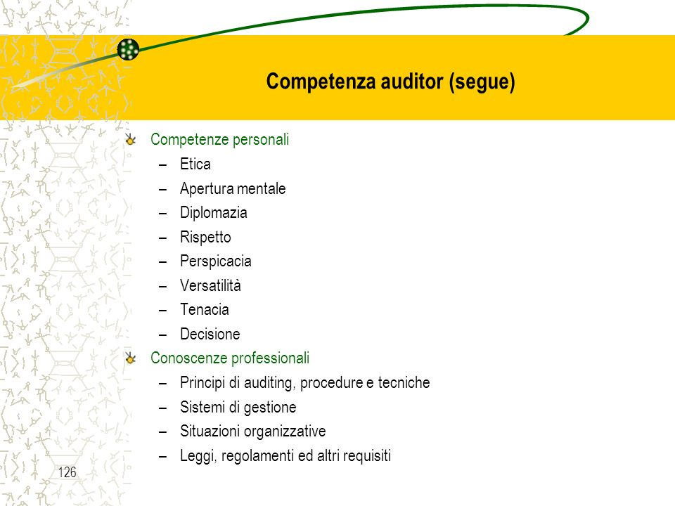 Competenza auditor (segue)