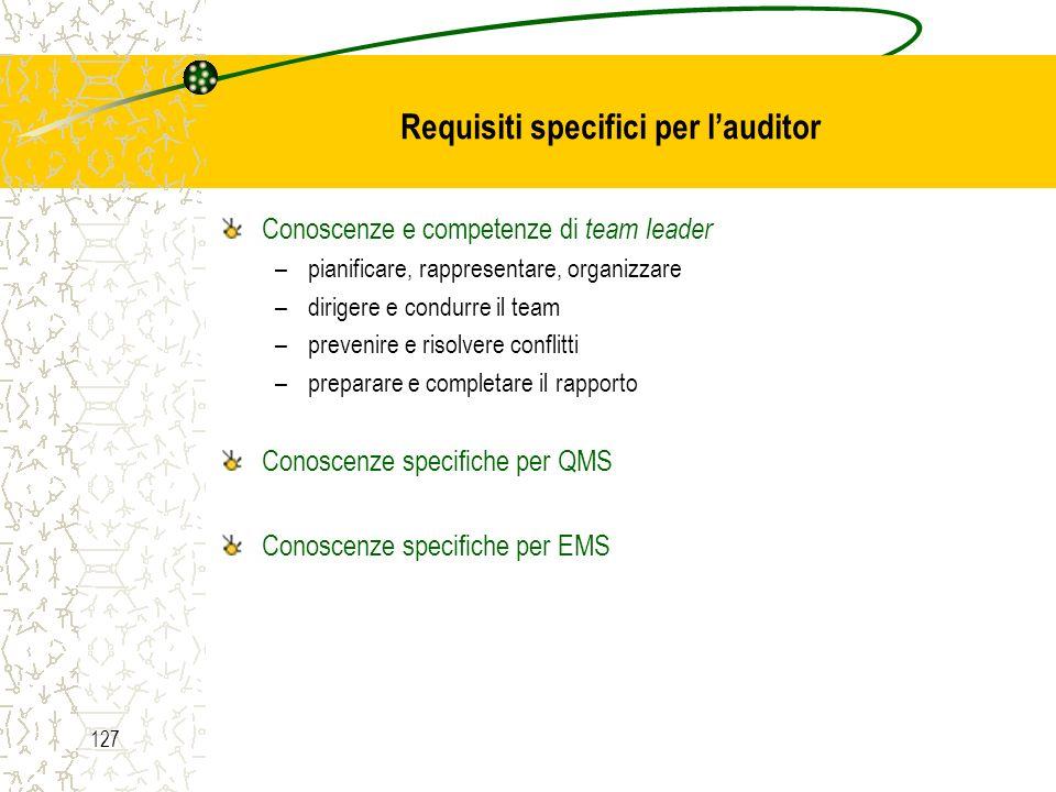 Requisiti specifici per l'auditor