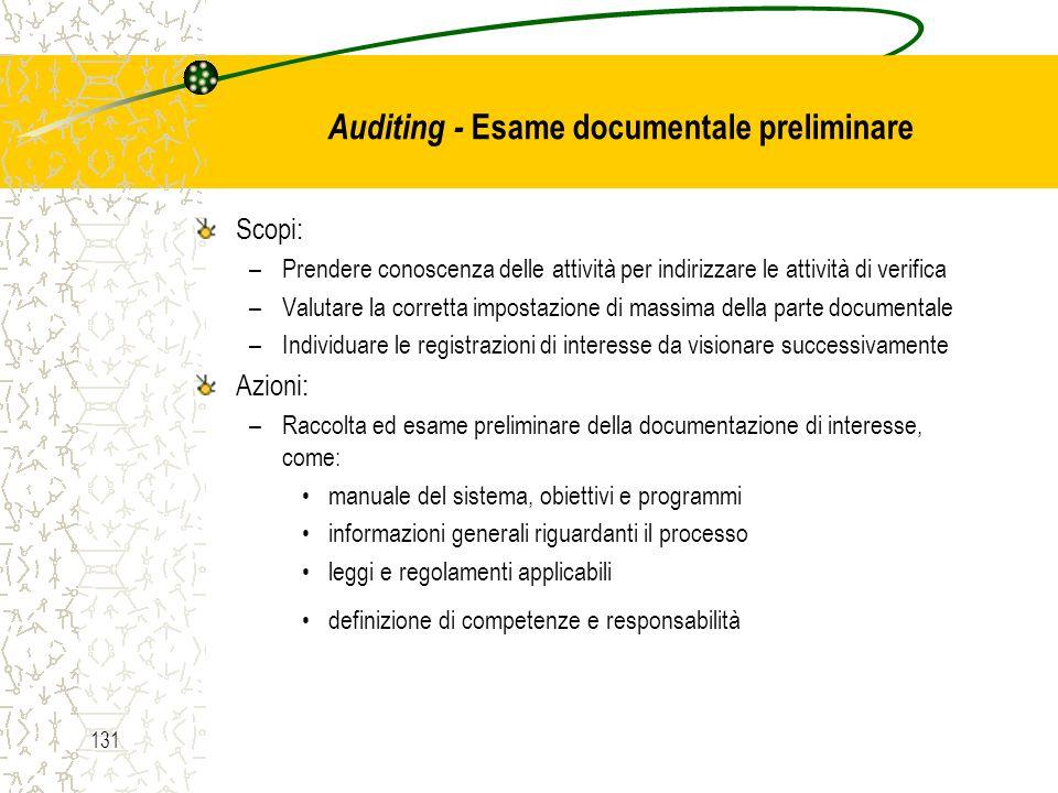 Auditing - Esame documentale preliminare