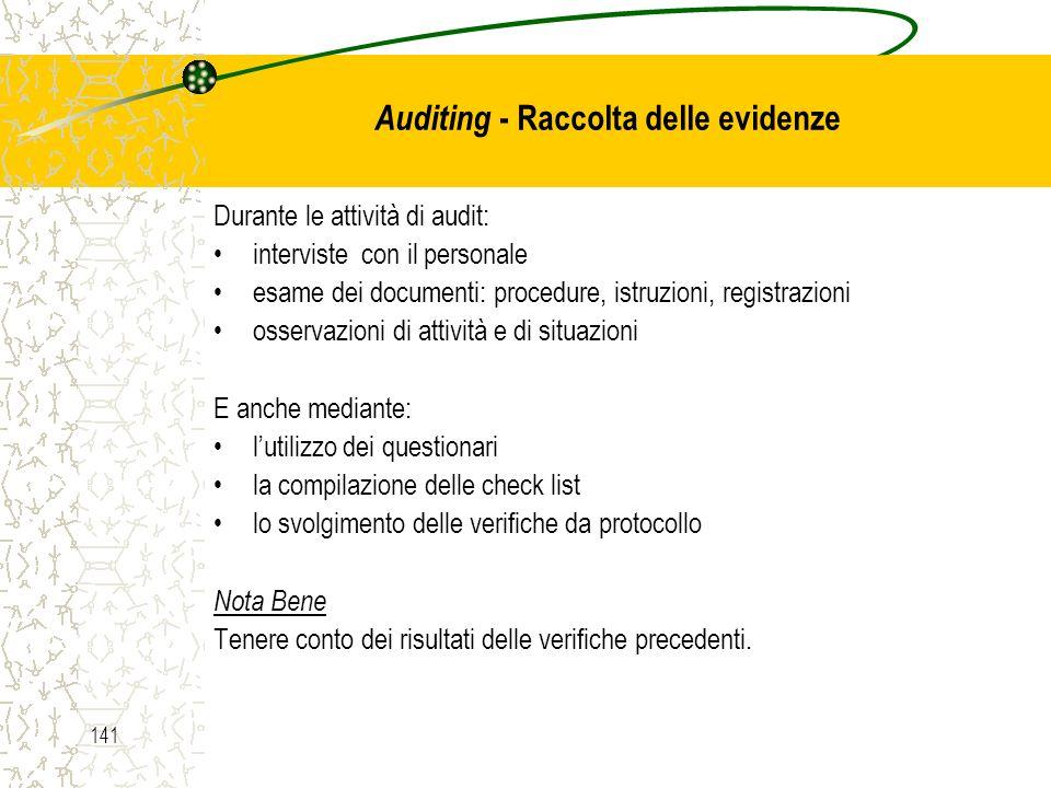 Auditing - Raccolta delle evidenze