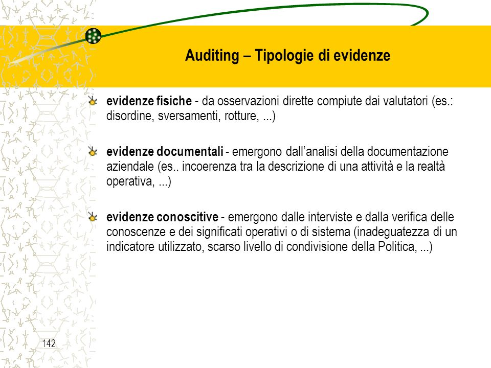 Auditing – Tipologie di evidenze