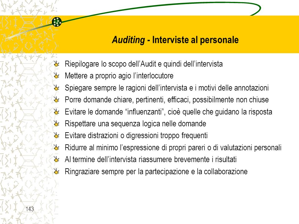 Auditing - Interviste al personale