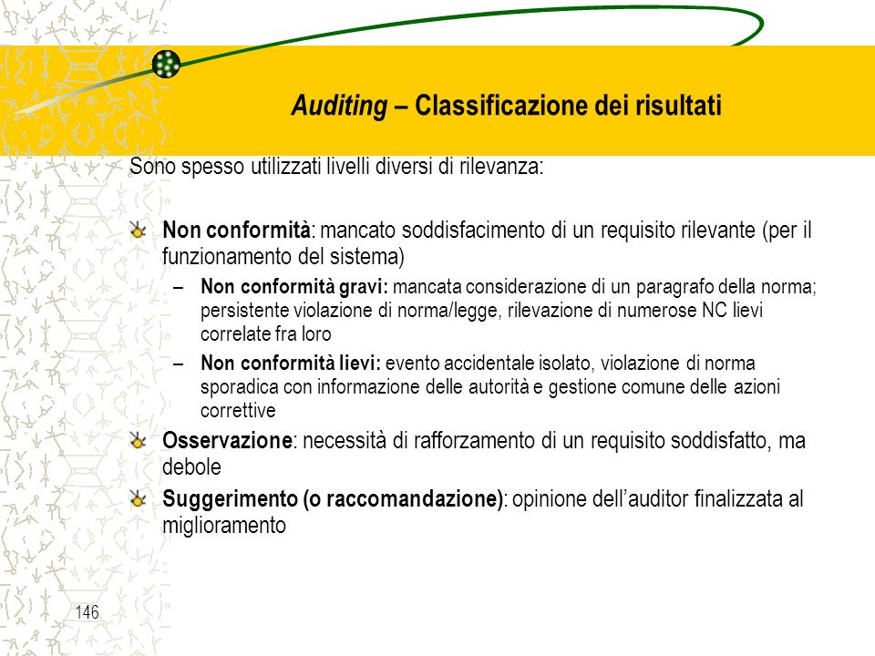 Auditing – Classificazione dei risultati