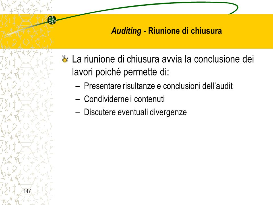 Auditing - Riunione di chiusura