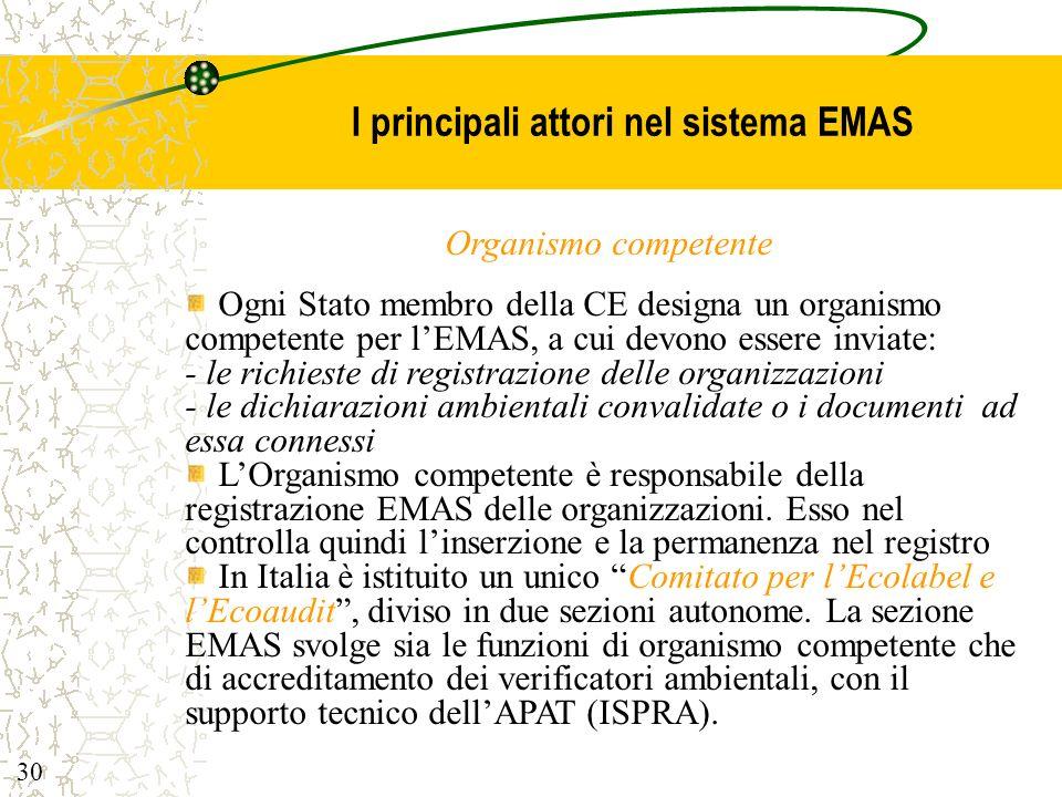 I principali attori nel sistema EMAS