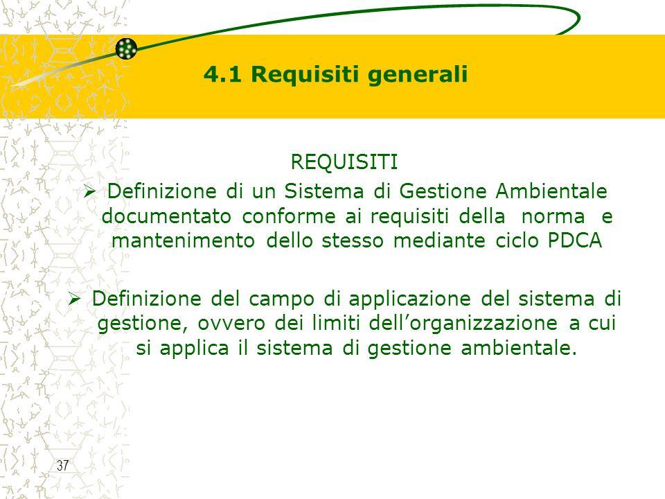 4.1 Requisiti generali REQUISITI