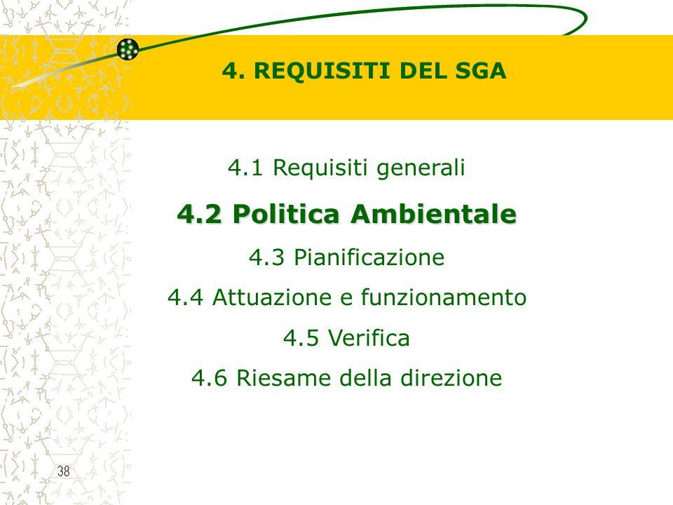 4.2 Politica Ambientale 4. REQUISITI DEL SGA 4.1 Requisiti generali
