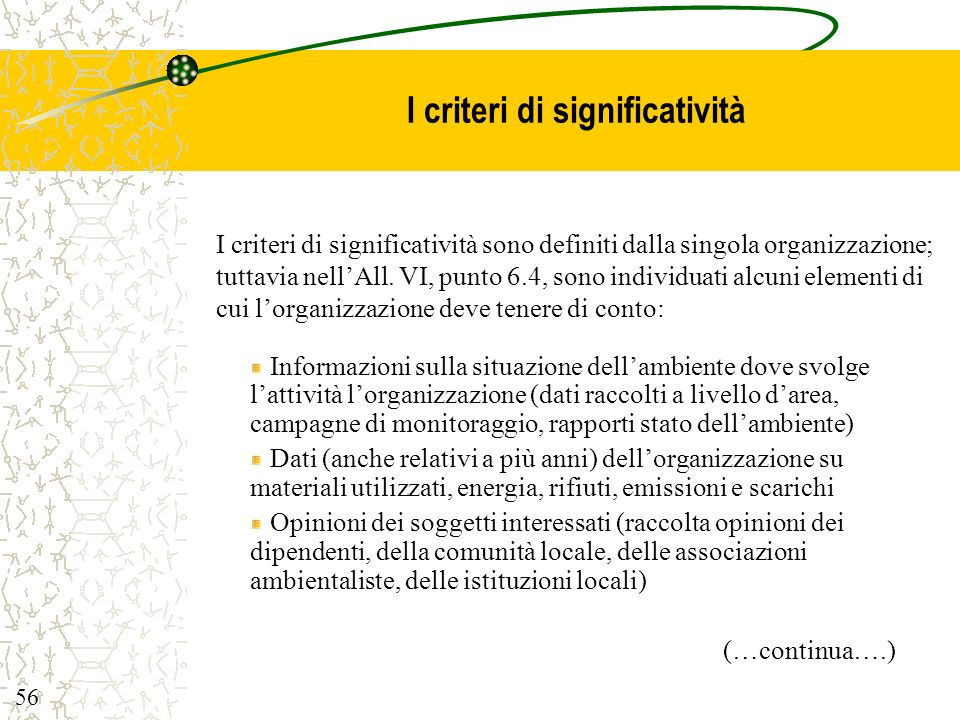 I criteri di significatività