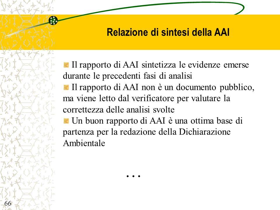 Relazione di sintesi della AAI