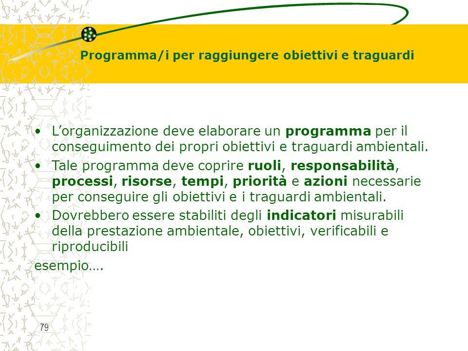 Programma/i per raggiungere obiettivi e traguardi