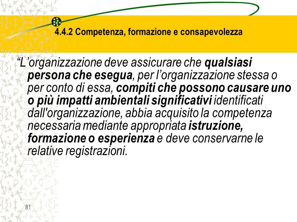 4.4.2 Competenza, formazione e consapevolezza