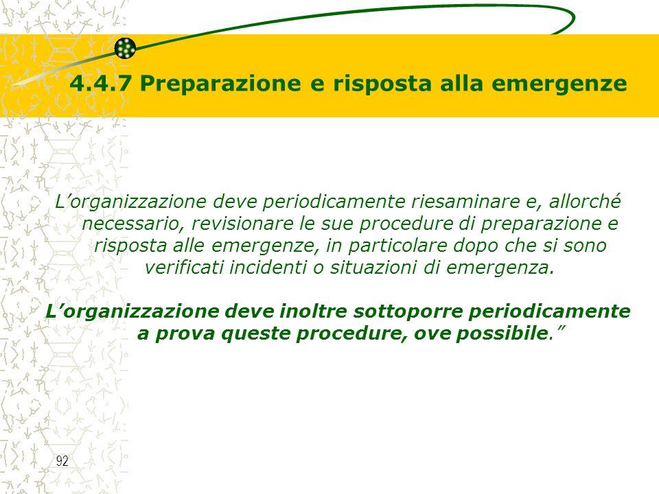 4.4.7 Preparazione e risposta alla emergenze