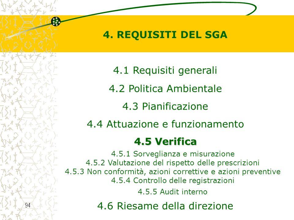 4. REQUISITI DEL SGA 4.5 Verifica