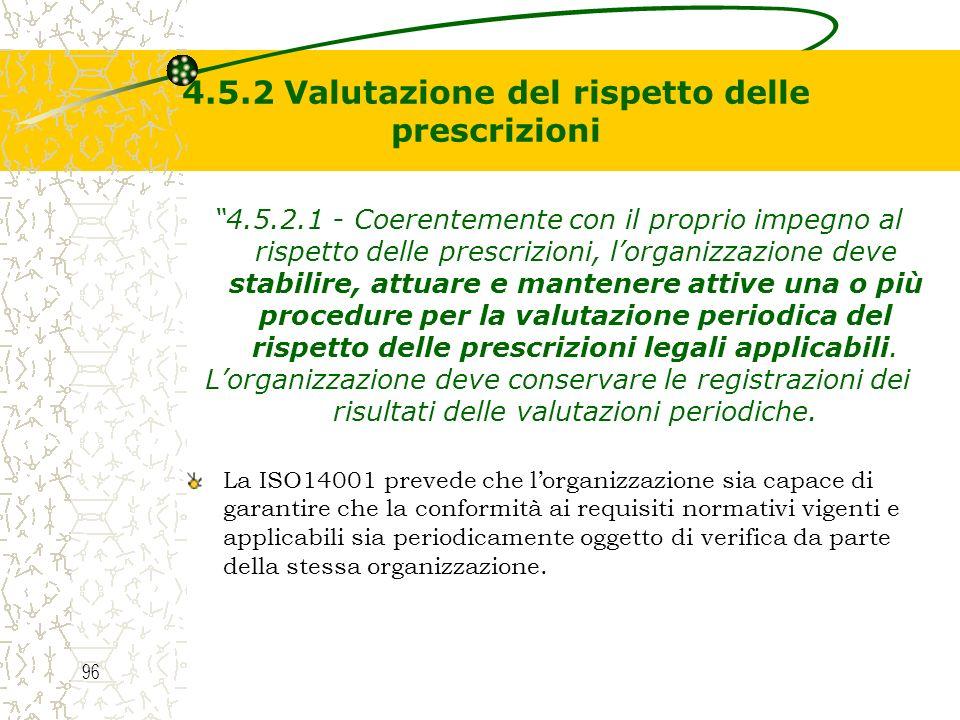4.5.2 Valutazione del rispetto delle prescrizioni