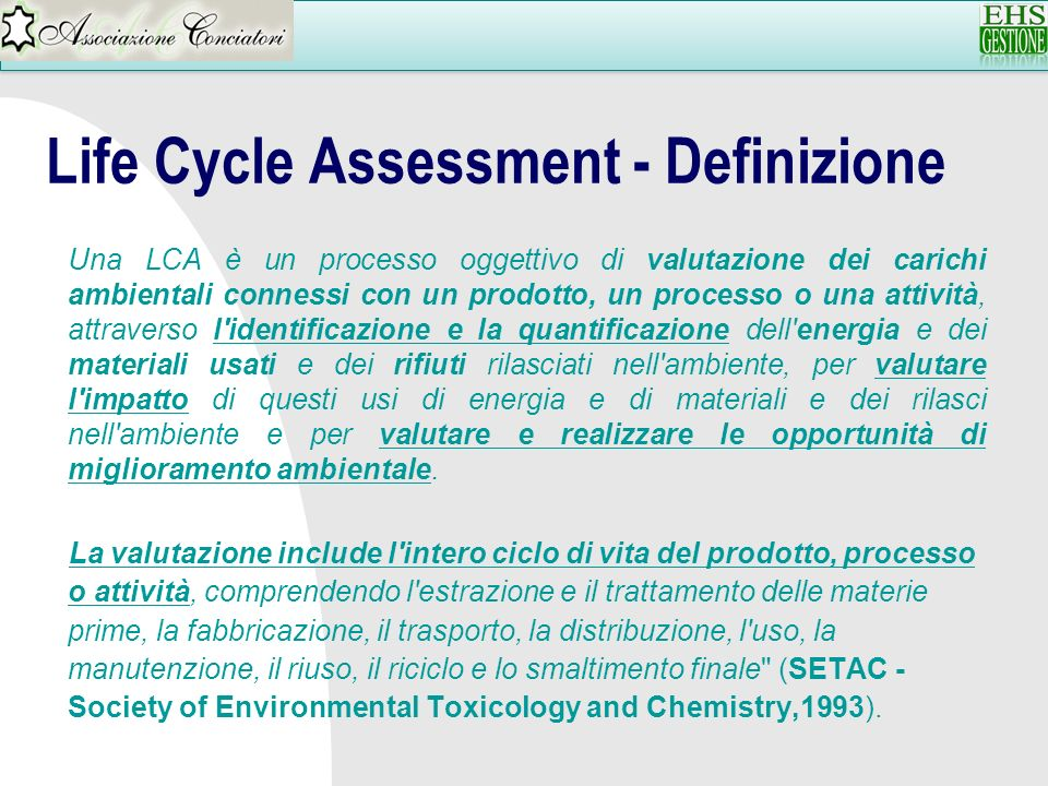 Life Cycle Assessment - Definizione