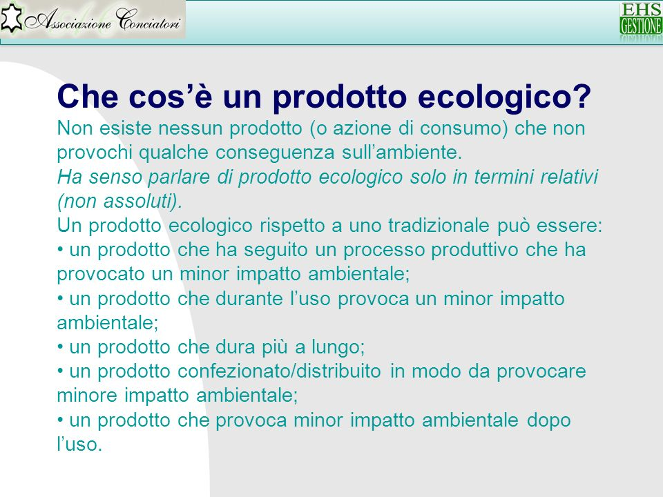 Che cos'è un prodotto ecologico