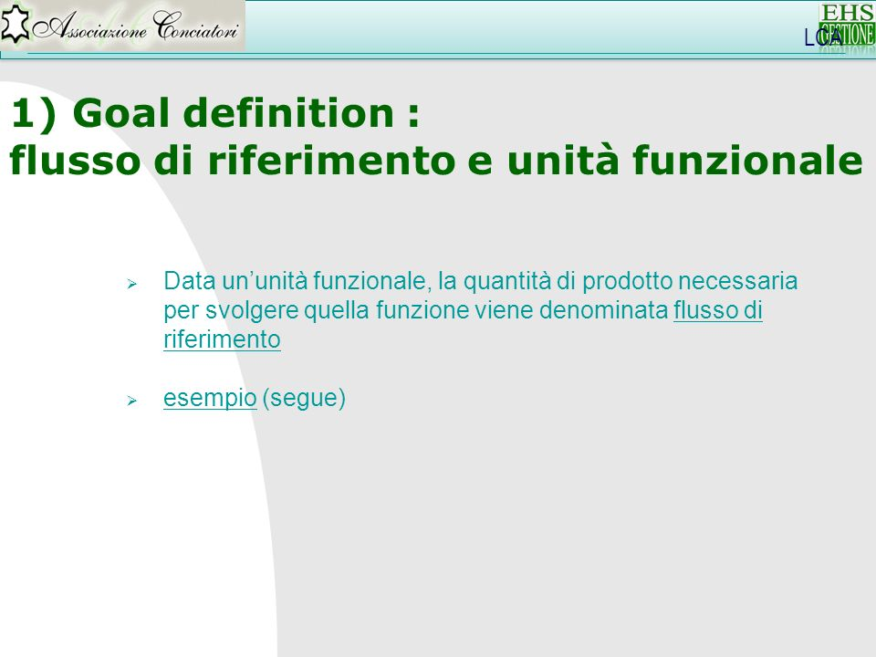 flusso di riferimento e unità funzionale