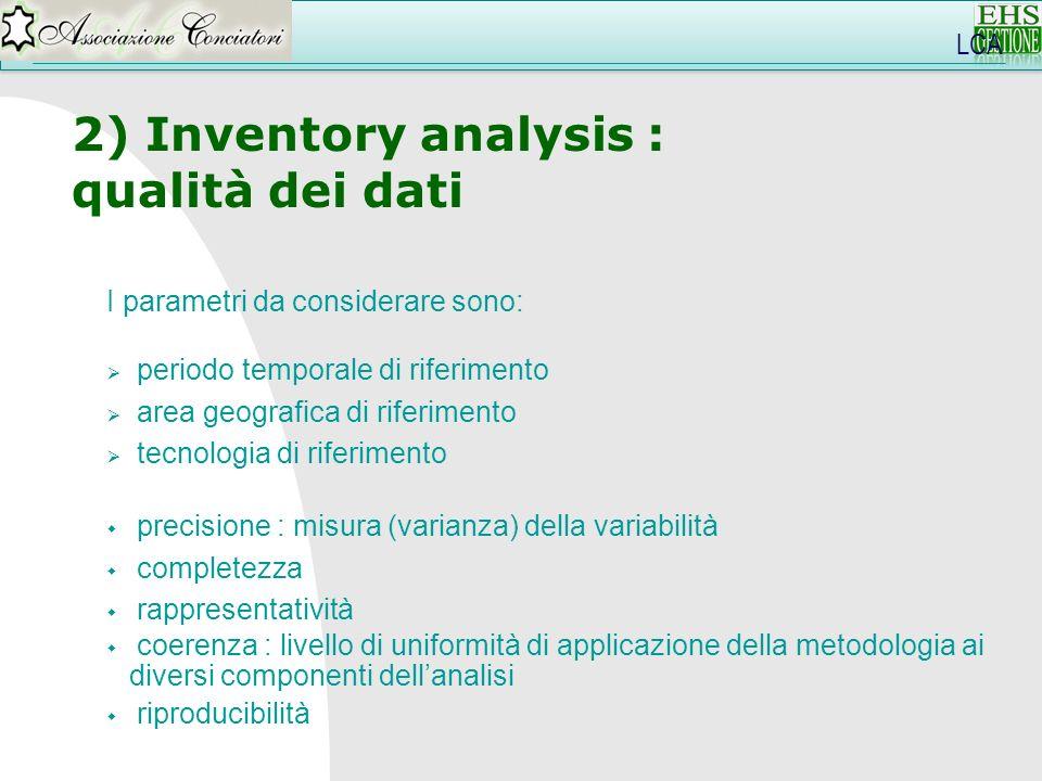 2) Inventory analysis : qualità dei dati LCA