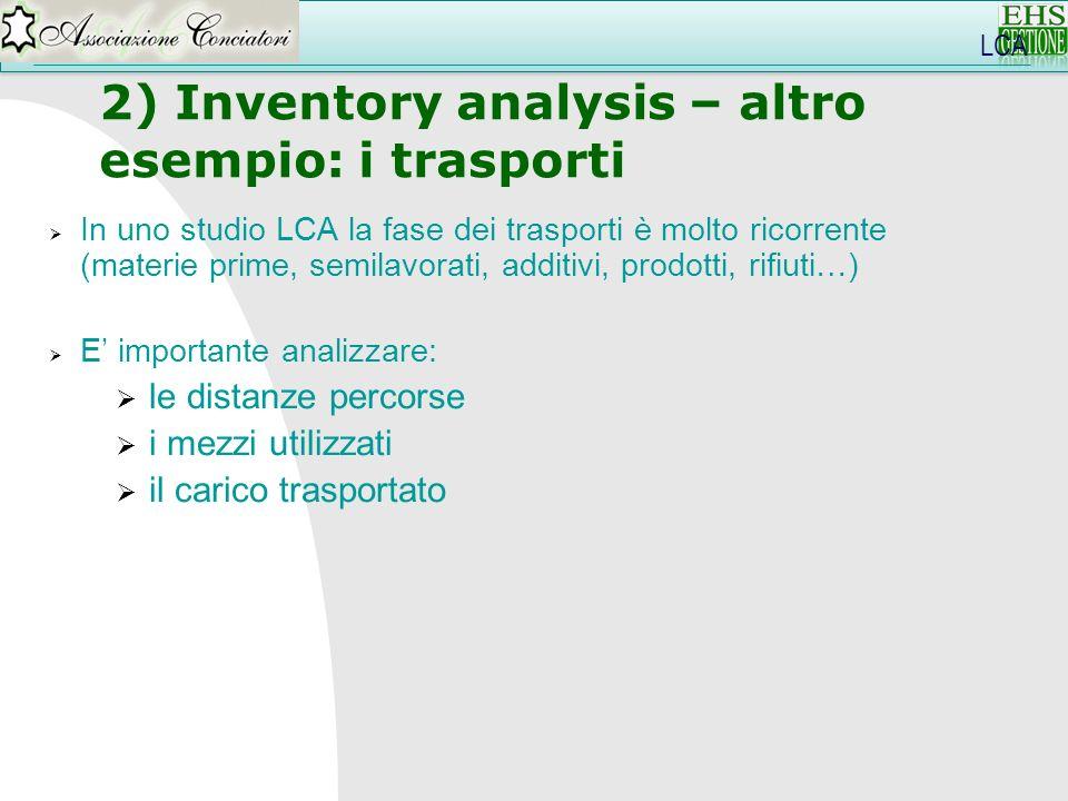2) Inventory analysis – altro esempio: i trasporti