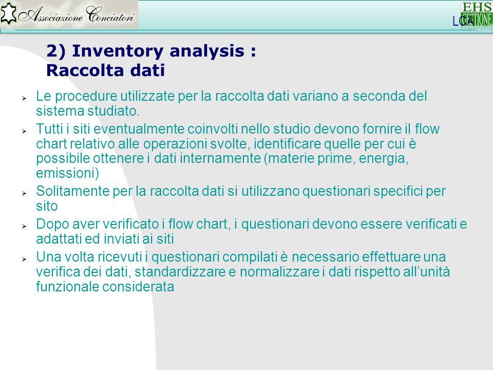 2) Inventory analysis : Raccolta dati LCA