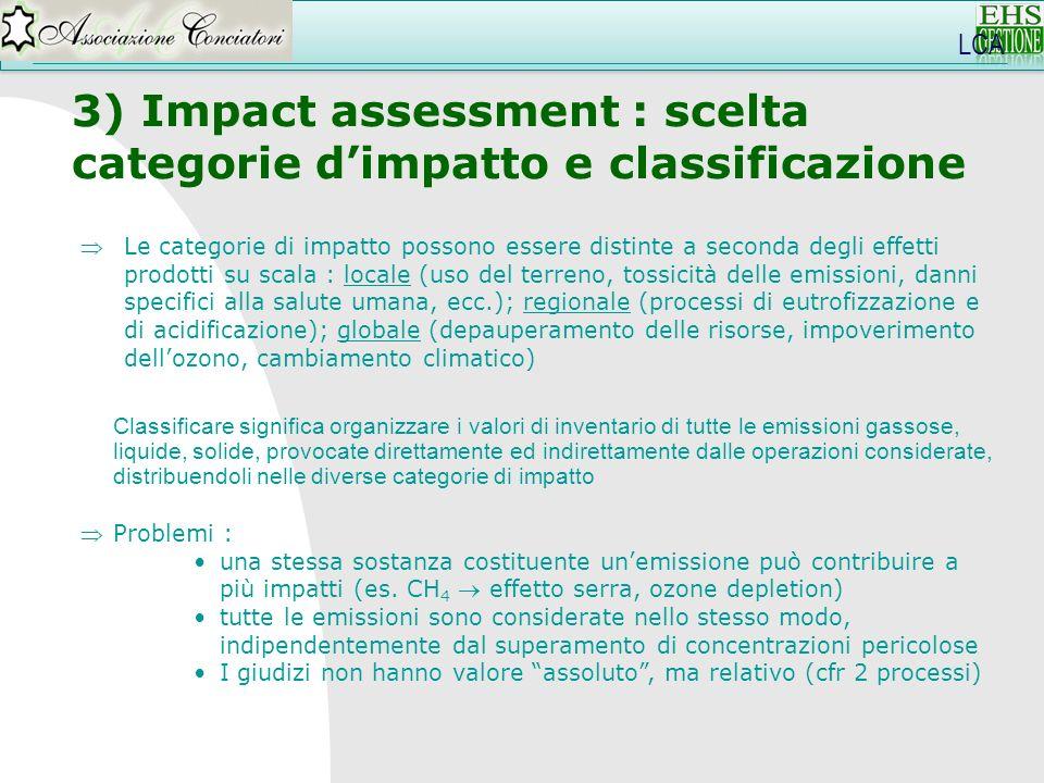 3) Impact assessment : scelta categorie d'impatto e classificazione