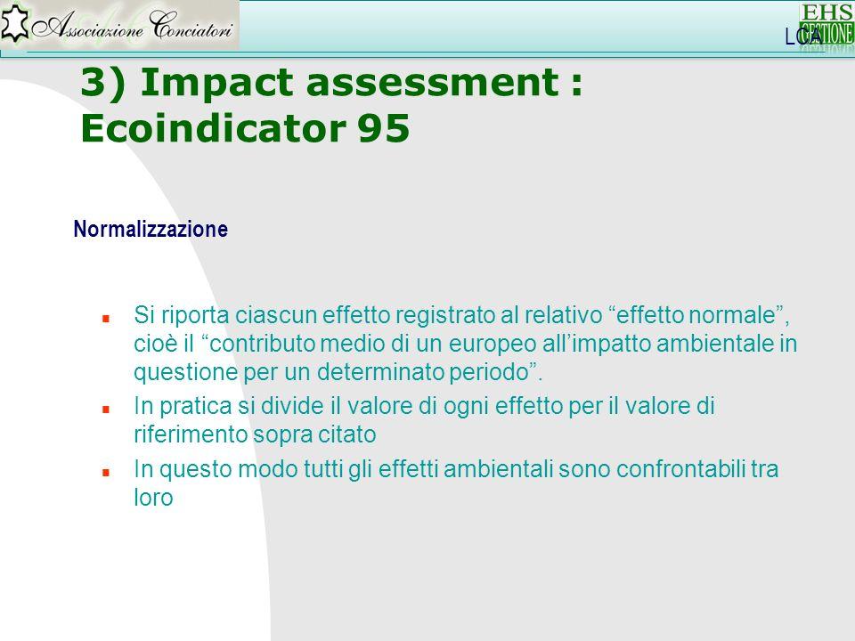 3) Impact assessment : Ecoindicator 95 LCA Normalizzazione