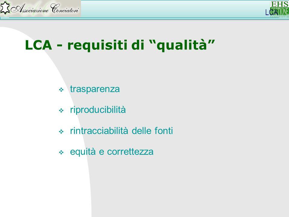 LCA - requisiti di qualità