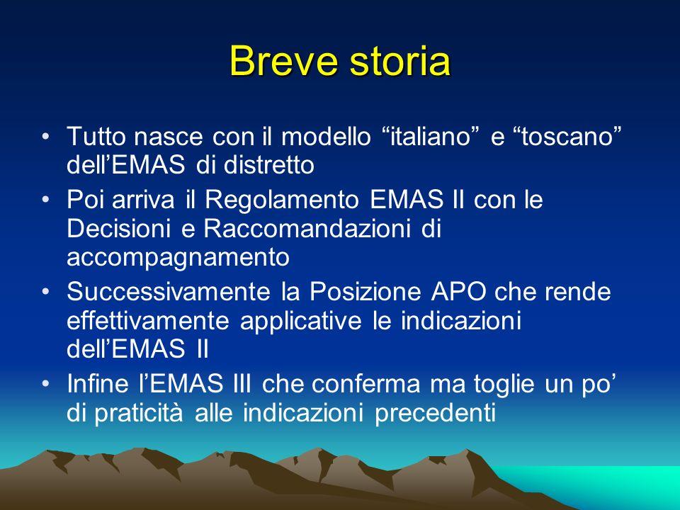 Breve storia Tutto nasce con il modello italiano e toscano dell'EMAS di distretto.