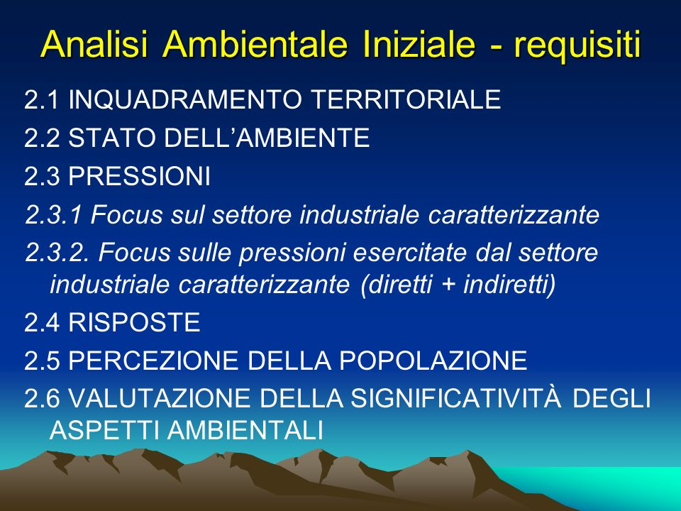 Analisi Ambientale Iniziale - requisiti