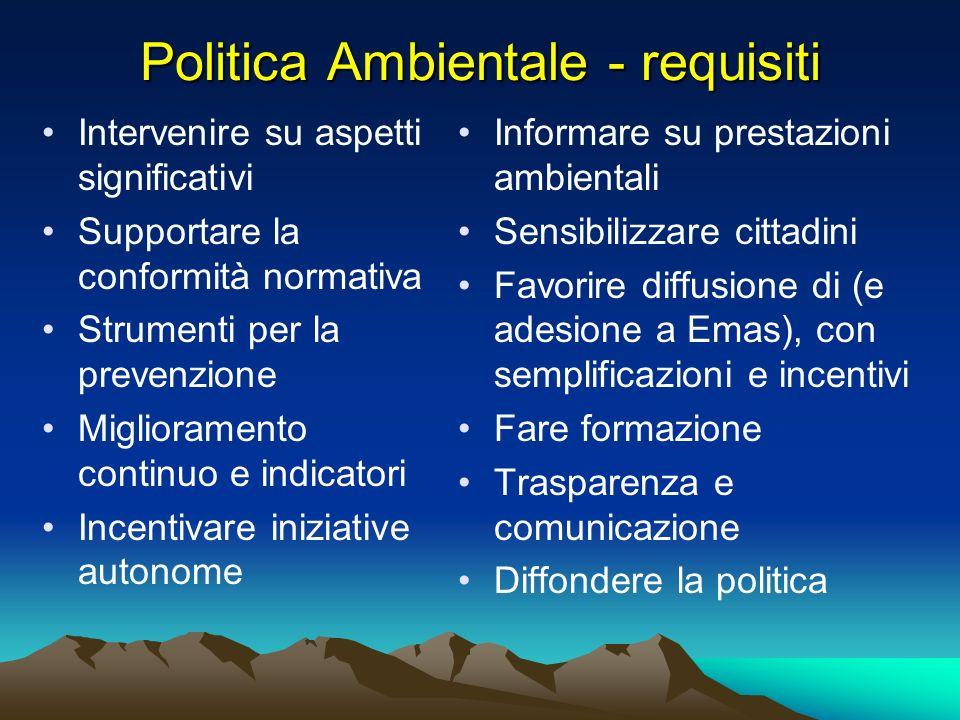 Politica Ambientale - requisiti