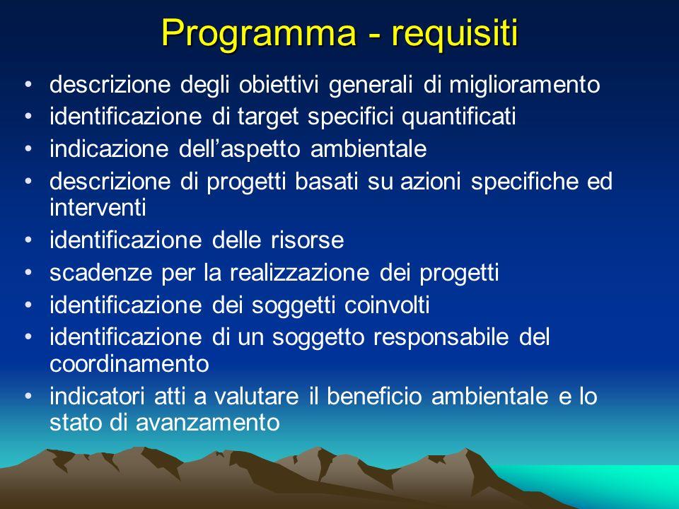 Programma - requisiti descrizione degli obiettivi generali di miglioramento. identificazione di target specifici quantificati.