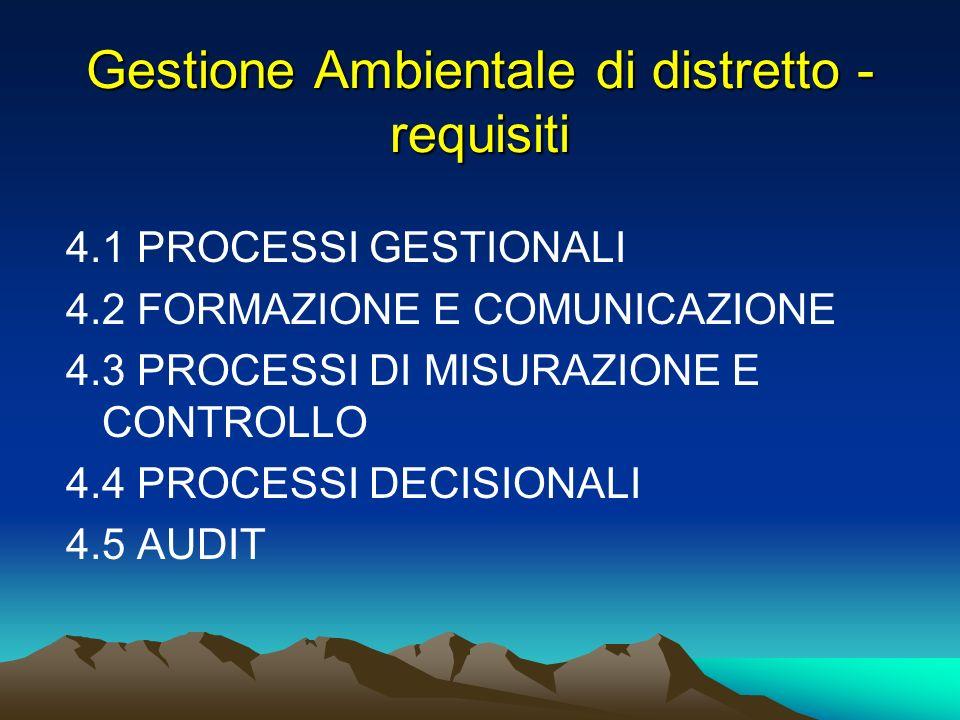 Gestione Ambientale di distretto - requisiti