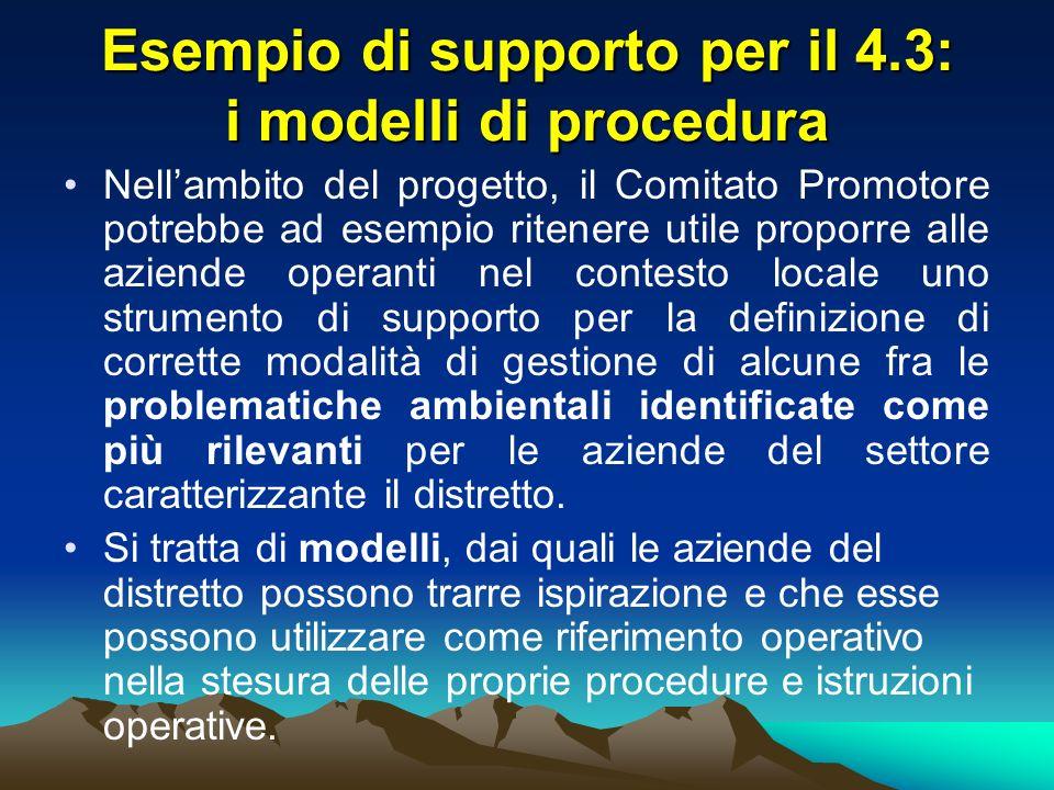 Esempio di supporto per il 4.3: i modelli di procedura