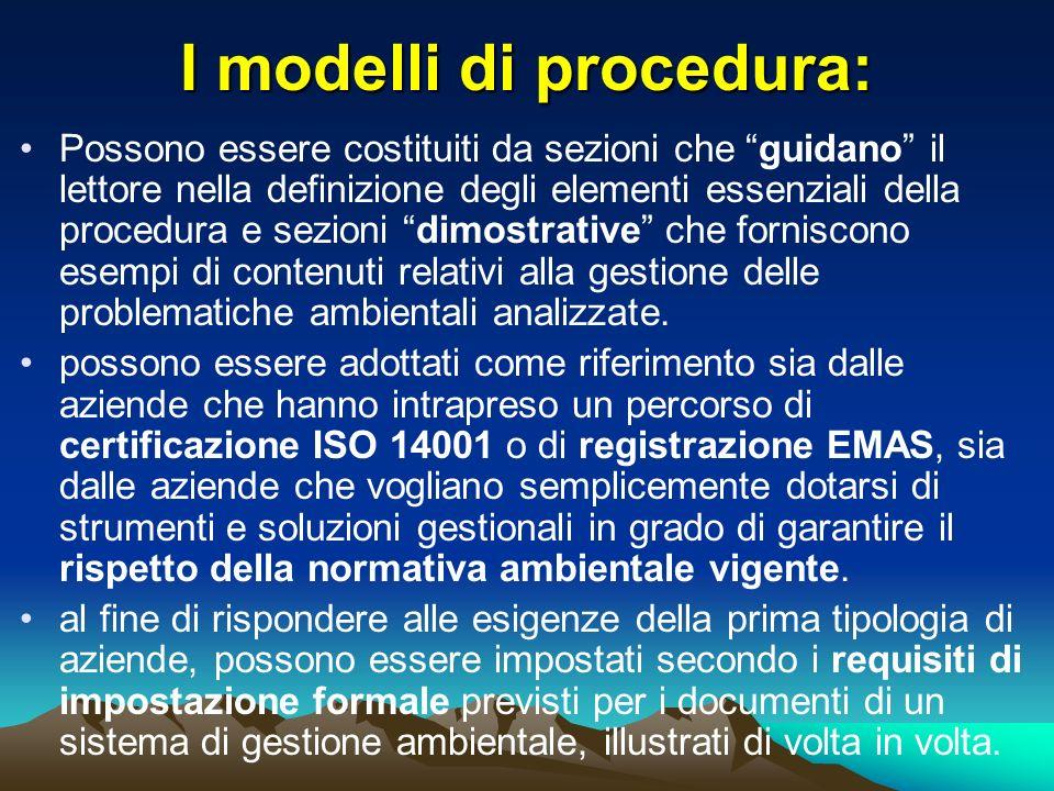 I modelli di procedura: