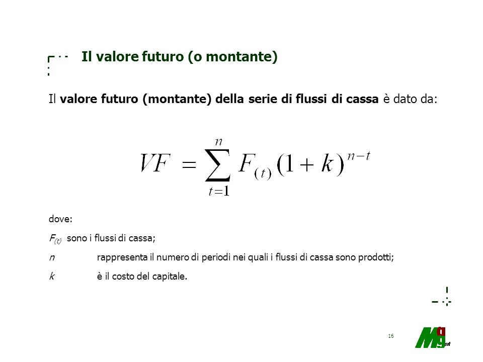 Il valore futuro (o montante)