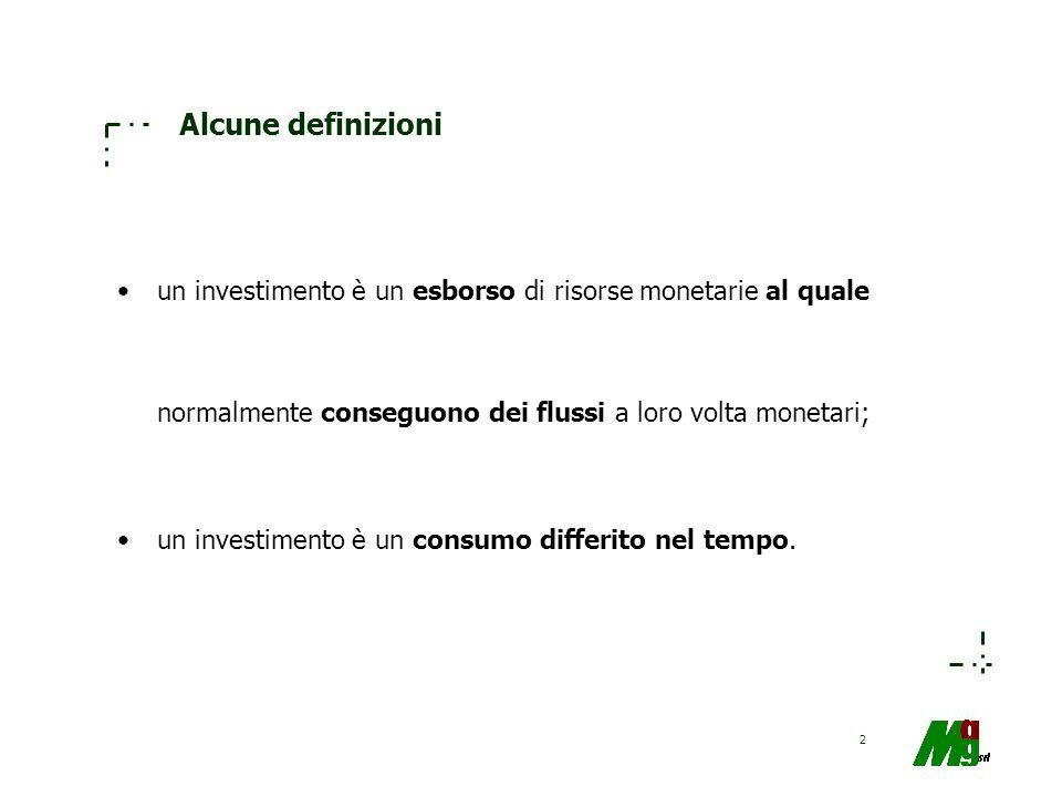 Alcune definizioniun investimento è un esborso di risorse monetarie al quale normalmente conseguono dei flussi a loro volta monetari;