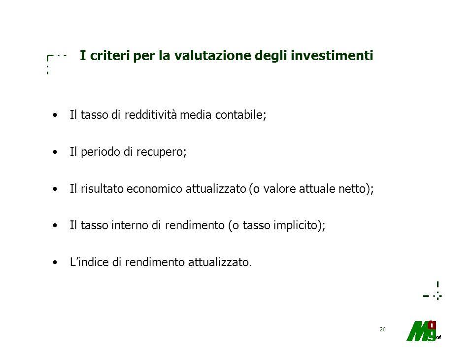 I criteri per la valutazione degli investimenti
