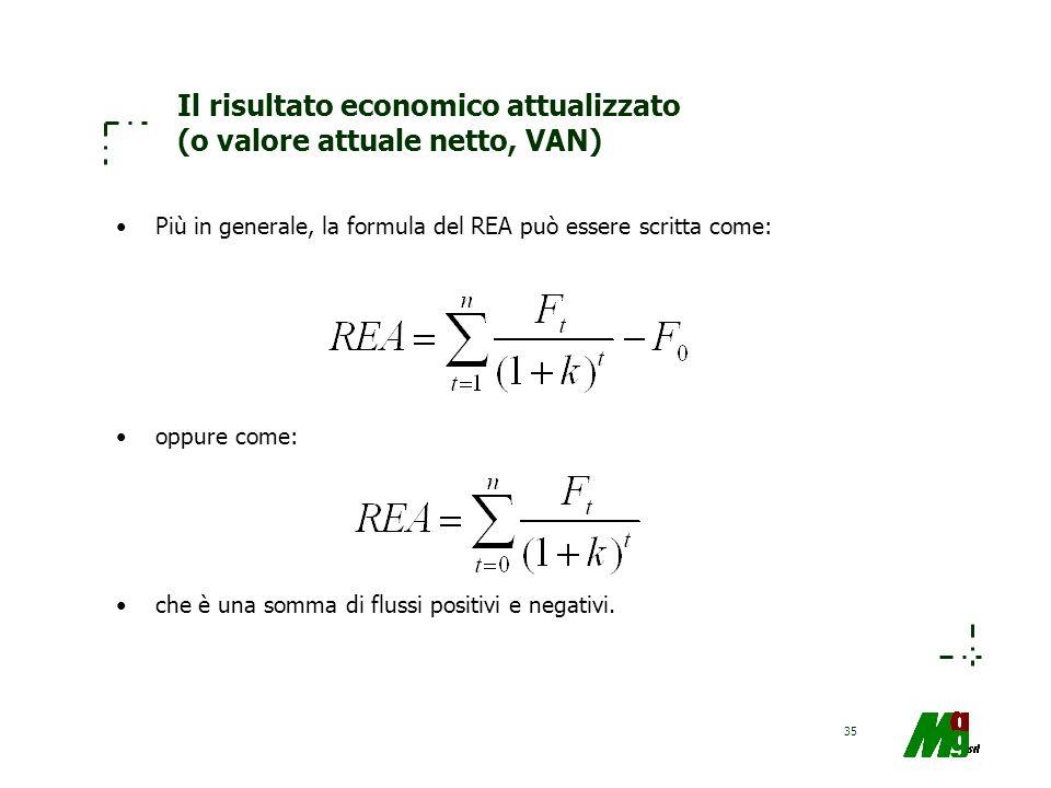 Il risultato economico attualizzato (o valore attuale netto, VAN)