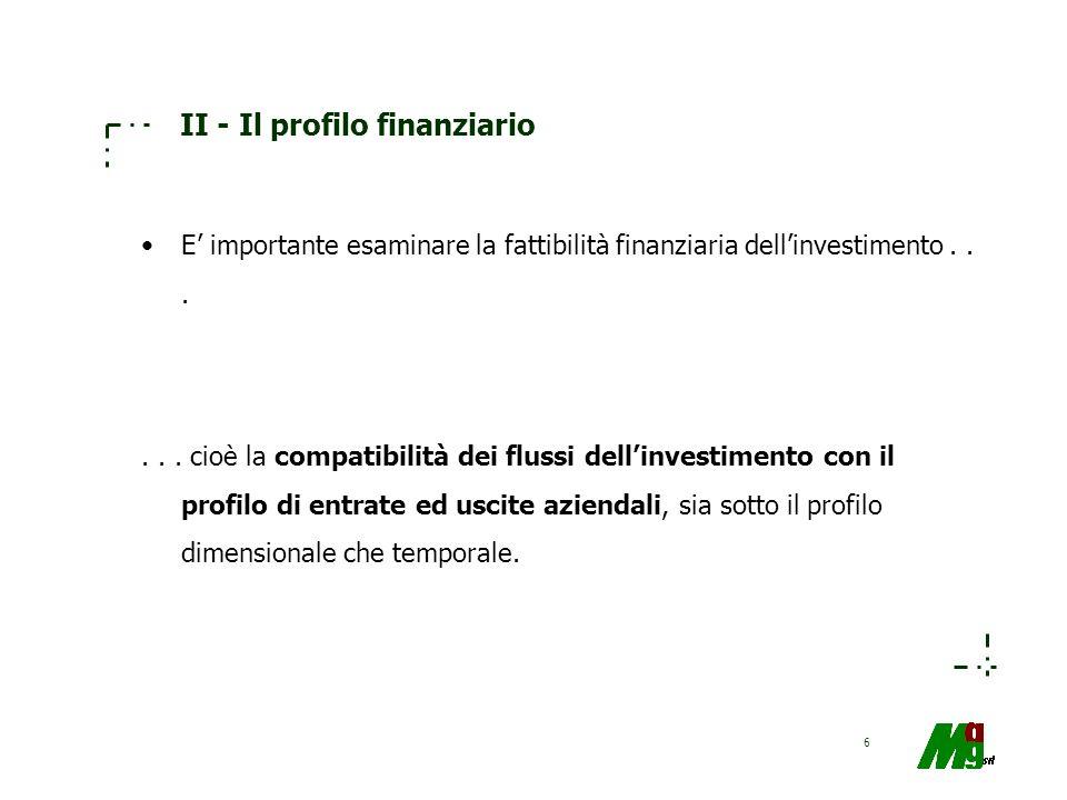 II - Il profilo finanziario