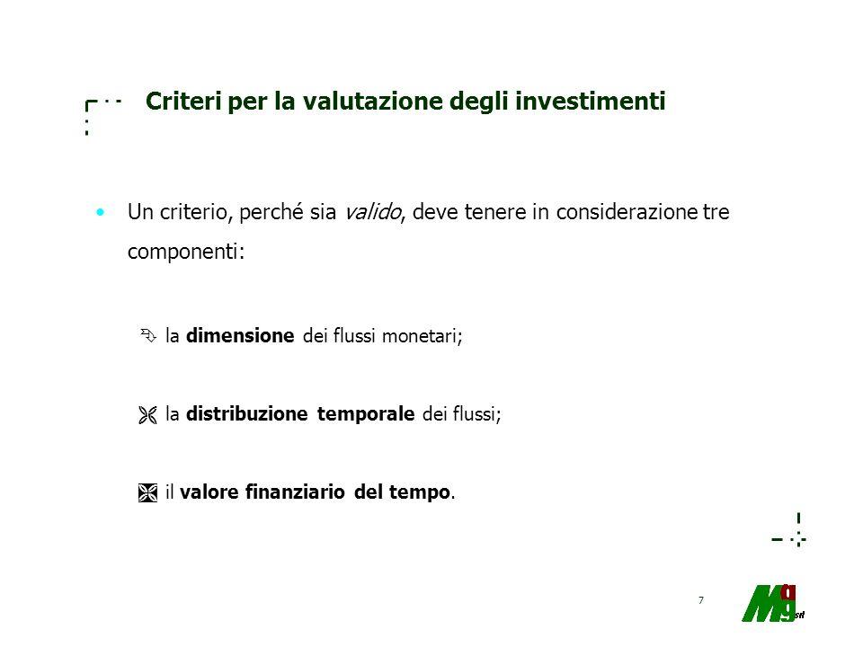 Criteri per la valutazione degli investimenti