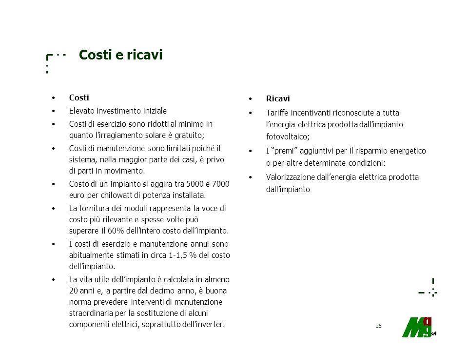 Costi e ricavi Costi Elevato investimento iniziale