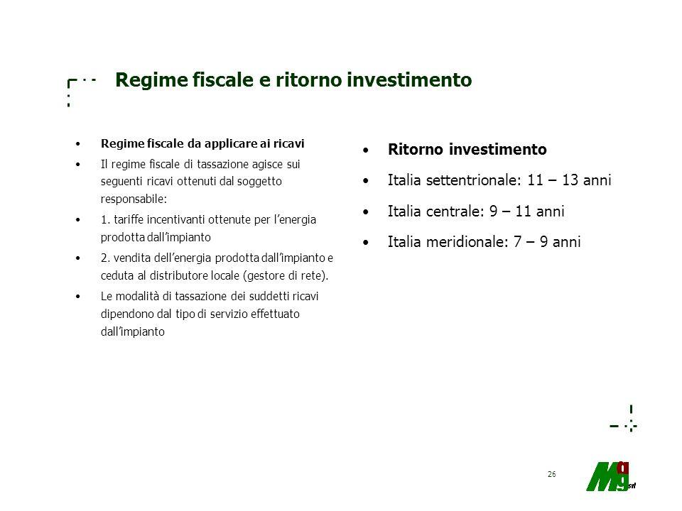 Regime fiscale e ritorno investimento