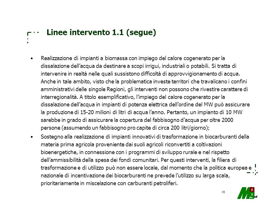 Linee intervento 1.1 (segue)