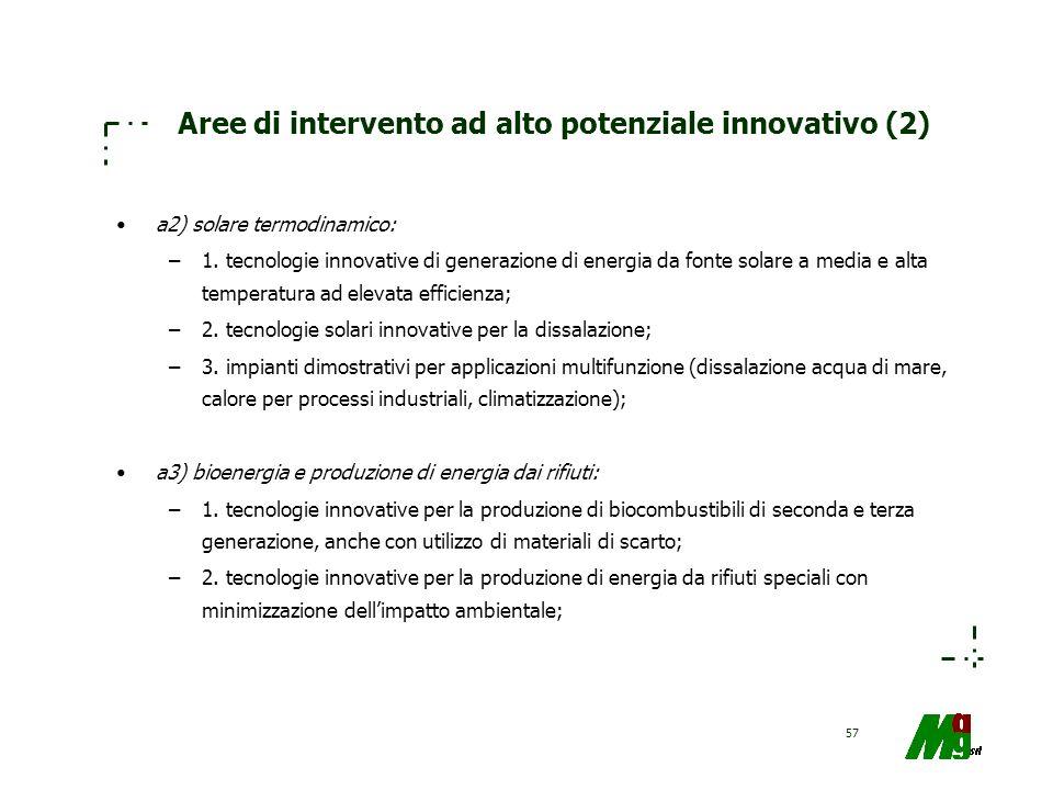 Aree di intervento ad alto potenziale innovativo (2)